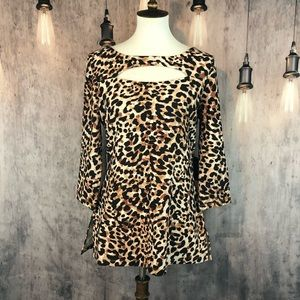 Boston Proper Animal Print Top with cut out M NWT